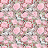 Crane birds, peony flowers. Floral repeating pattern, Asia. Watercolor. Crane birds dance in pink peony flowers. Floral repeating asian pattern with chinese royalty free stock photography