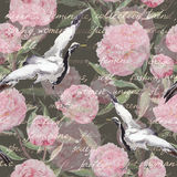 Crane birds, peony flowers, hand written text. Floral seamless pattern. Watercolor Stock Image
