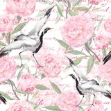 Crane birds, pink flowers, handwritten text. Floral seamless pattern. Watercolor Stock Images