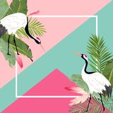 Crane Birds and Tropical Leaves Summer Banner, Graphic Background, Exotic Floral Invitation, Flyer or Card. Front Page. Crane Birds and Tropical Leaves Summer vector illustration