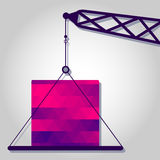 Crane and block experiment with colorful triangles Royalty Free Stock Photography