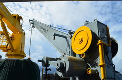 Crane in boat. Crane in supply boat use for lifting cargo Stock Image