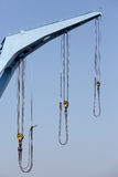 Crane boom with steel hook stock image