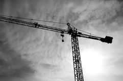 Crane bottom view with cloudy sky Royalty Free Stock Photos