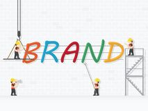 Crane and brand building. Infographic Template. Vector Illustration royalty free illustration