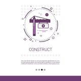 Crane Building Construction Engineering Web-Fahne mit Kopien-Raum Stockbild