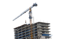 Crane on a building in construction Royalty Free Stock Images