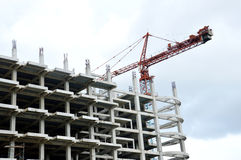 Crane on a building in construction Royalty Free Stock Photography