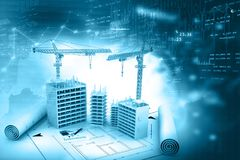 Crane and building construction site. With blueprint on financial background. 3d render Royalty Free Stock Photography