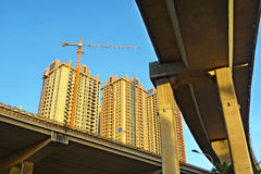 Crane and building construction site Royalty Free Stock Photography