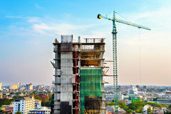 Crane and Building Construction Stock Image