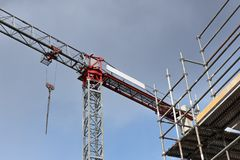 Crane and building construction. Mock up stock images