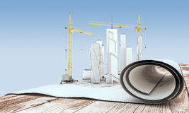 Crane and building in the drawings Royalty Free Stock Image