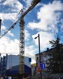 Crane building a house stock photo