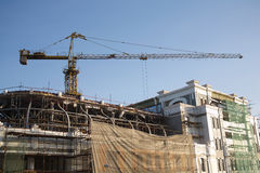 Crane on building reconstruction Royalty Free Stock Images