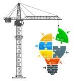 Crane builds the idea Stock Image