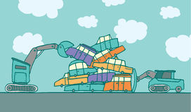 Crane and bulldozer piling up cars. Cartoon illustration of service vehicles putting colors cars together in a junkyard Stock Photo