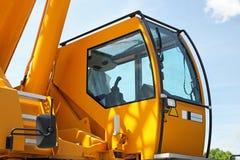 Crane cabin. Yellow safety cabin for construction crane operator Royalty Free Stock Photos