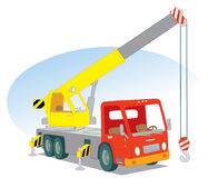 Crane car. Red mobile crane for construction work Royalty Free Illustration