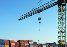 Crane and cargo container Royalty Free Stock Photography