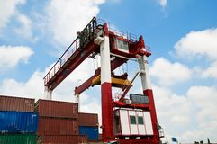 Crane & cargo containers Royalty Free Stock Photo