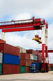 Crane & cargo containers Royalty Free Stock Photos