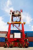 Crane & cargo containers Stock Photography