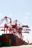 Crane & cargo containers Royalty Free Stock Image