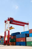 Crane & cargo containers Royalty Free Stock Photos