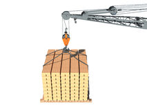 Crane and cargo. Element of building design. Isolated white Stock Image