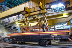 Crane carries metal at the plant Stock Image