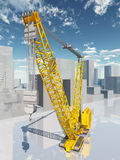 Crane in a city landscape Royalty Free Stock Photos