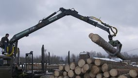Crane claw loader unloads lumber logs from heavy truck at sawmill factory. Cold cloudy winter day stock footage