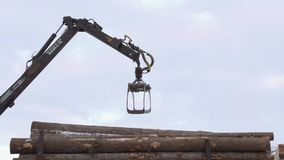 Crane claw loader unloads timber logs from heavy truck at sawmill facility. Cold cloudy winter day stock footage