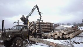 Crane claw loader unloads wood logs from heavy truck at sawmill facility. Cold cloudy winter day stock footage