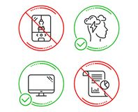 Crane claw machine, Computer and Mindfulness stress icons set. Report sign. Vector. Do or Stop. Crane claw machine, Computer and Mindfulness stress icons simple vector illustration