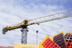 Crane on clouds background Stock Image