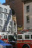 Crane collapse flatten a 4 story building Stock Photo