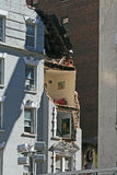Crane collapse flatten a 4 story building Stock Image