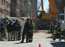 Crane collapse flatten a 4 story building. And killed 7 people in Midtown Manhattan Royalty Free Stock Photo