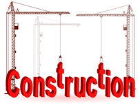 The crane collects a word Construction Royalty Free Stock Images