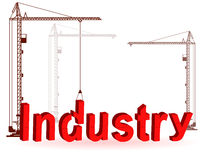 The crane collects a word Industry. Silhouette of the crane on construction of a word Industry Stock Images