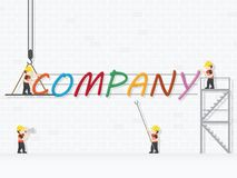 Crane and company building. Infographic Template. Vector Illustration stock illustration