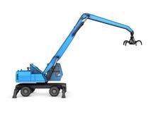 Crane con la mano meccanica su un fondo bianco illustrazione vettoriale