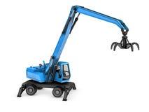 Crane con la mano meccanica su un fondo bianco illustrazione di stock