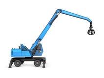 Crane con la mano meccanica su un fondo bianco immagini stock libere da diritti