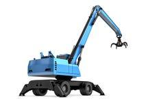 Crane con la mano meccanica su un fondo bianco fotografia stock