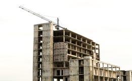 Crane Constructing-de bouwkader op witte achtergrond royalty-vrije stock fotografie