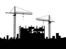 Crane construction. Two cranes build construction over white (no Stock Photos