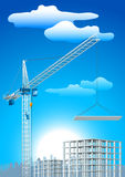 Crane construction. Vector illustration of crane and building construction over city landscape Royalty Free Stock Photo